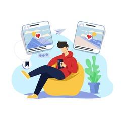 Social media browsing illustration concept