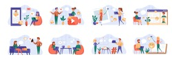 Social media bundle with people characters. People online communication and messaging with digital devices situations. Social media chatting, emailing and video streaming flat vector illustration