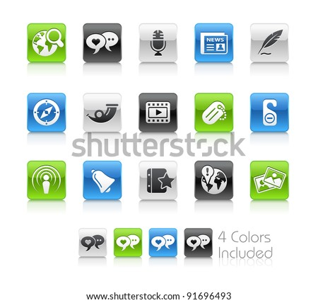 Social Media Buttons  / The file Includes 4 color versions in different layers.