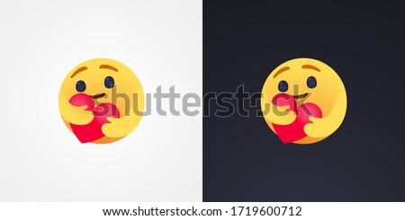 Social Media Care emoji hugging a heart. Symbol of care and support, show the love for loved ones who are a very long distance for me Stockfoto ©