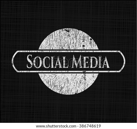 Social Media chalk emblem, retro style, chalk or chalkboard texture