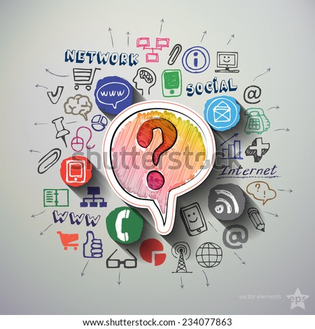 Social media collage with icons background. Vector illustration