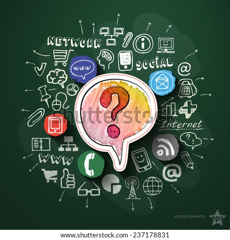 Social media collage with icons on blackboard. Vector illustration #237178831
