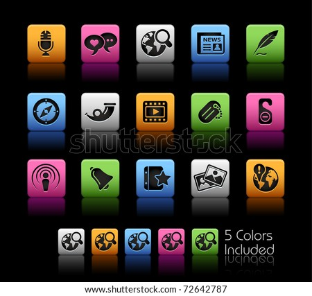 Social Media // Color Box -------It includes 5 color versions for each icon in different layers --------- - stock vector