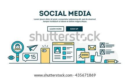 Social media, colorful concept header, flat design thin line style, vector illustration