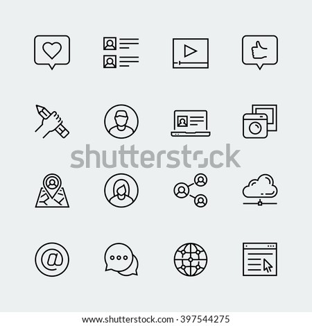 Social media, communication and web profile vector icon set in thin line style