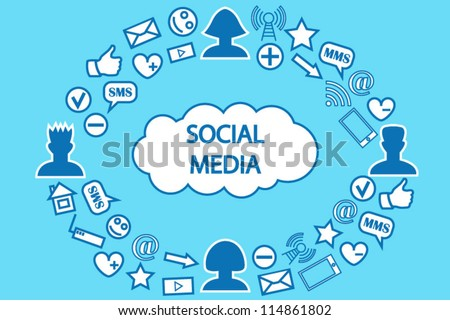 Social media communication cloud computing background