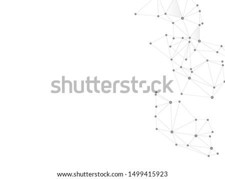 Social media communication digital concept. Network nodes greyscale plexus background. Circle nodes and line elements. Global social media network space vector. Molecular biology backdrop.