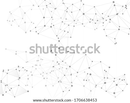 Social media communication digital concept. Network nodes greyscale plexus background. Dots nodes points lines particles. Biotechnology backdrop design. Global social media network space vector.