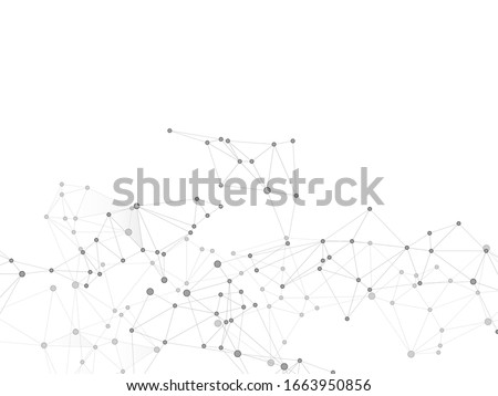 Social media communication digital concept. Network nodes greyscale plexus background. Fractal hub nodes connected by lines. Global social media network space vector. Genetic engineering abstract.