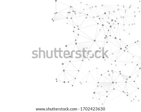 Social media communication digital concept. Network nodes greyscale plexus background. Net grid of node points, lines matrix. Global social media network space vector. Artificial intelligence plexus.