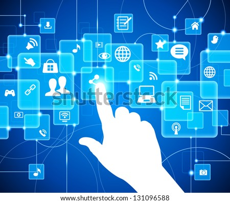 social media, communication in the global computer networks. The hand pushing one of several button. Choice concept. Vector illustration. File is saved in AI10 EPS version.