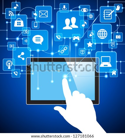 social media, communication in the global computer networks. vector tablet pc with social media icons and hand.     File is saved in AI10 EPS version. This illustration contains a transparency