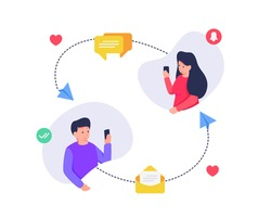 social media communication messaging concept between man and woman with love messaging inbox icon