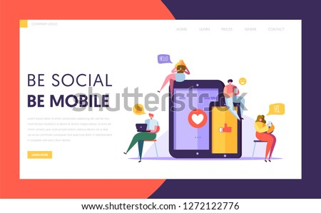 Social Media Communication Technology Characters Landing Page Template. Group of Flat People Chat in Mobile and Tablet Screen Concept for Website or Web Page. Cartoon Vector Illustration #1272122776