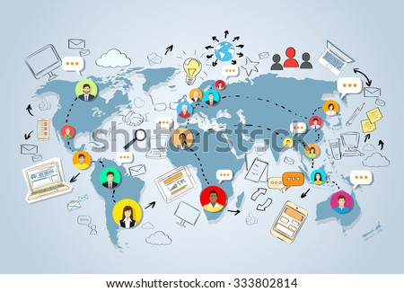 World map social media vector download free vector art stock social media communication world map concept internet network connection people doodle hand draw sketch background vector gumiabroncs Image collections