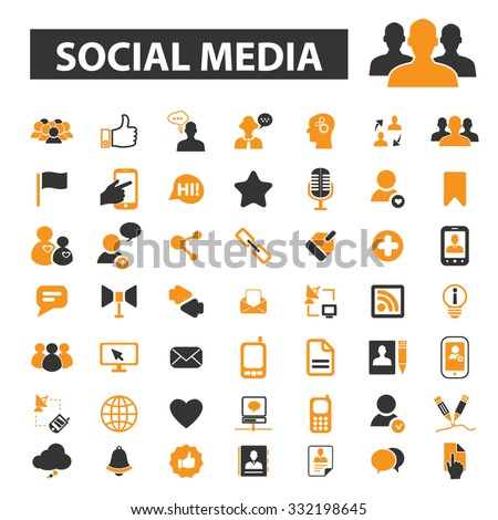 social media, community, people connect icon & sign concept vector set for infographics, website