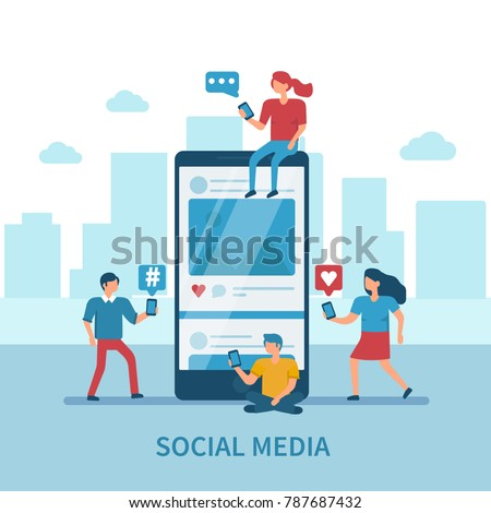 Social media concept banner with text place. Flat style minimal vector illustration isolated on white background.