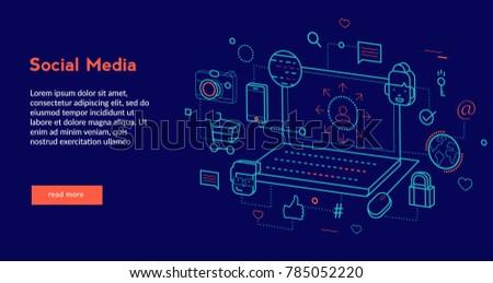 Social Media Concept for web page, banner, presentation. Vector illustration