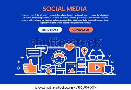 Social Media Concept for web page, banner, presentation. Vector illustration #786304639