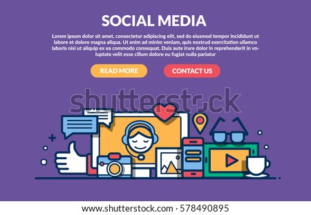 Social Media Concept for web site. Vector illustration