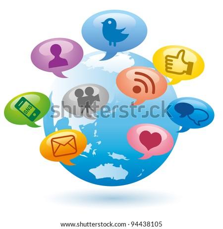 Social Media concept Globe Communication vector