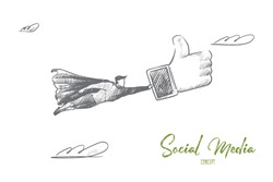Social media concept. Hand drawn superhero with big like in hand. Flying man holds sign like from social network isolated vector illustration.