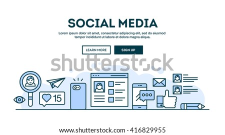 Social media, concept header, flat design thin line style, vector illustration