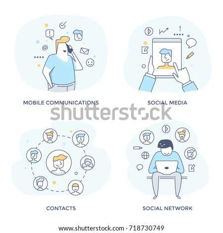 Social media concept icons for of digital communication, people networking and direct marketing. Perfect for web interface, mobile applications, infographics and prints. Flat line design.