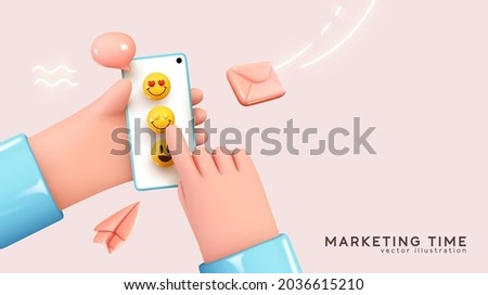Social media concept. Marketing time. Realistic abstract 3d design. Cartoon style. In hand phone sends emoticons of emotions to friends. Mobile Template Social network. smile icon. Vector illustration