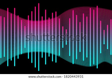Social media concept. Music waves, gradient color background. Abstract sound wave stripe lines colourful equalizer isolated on black background. Vector illustration. EPS10 Stock fotó ©
