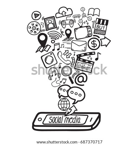 Social media concept. Smartphone can do everything, business, finance or entertainment. Doodle hand draw vector illustration.