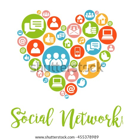 Social Media concept. Social media icons in heart shape. Hand lettering