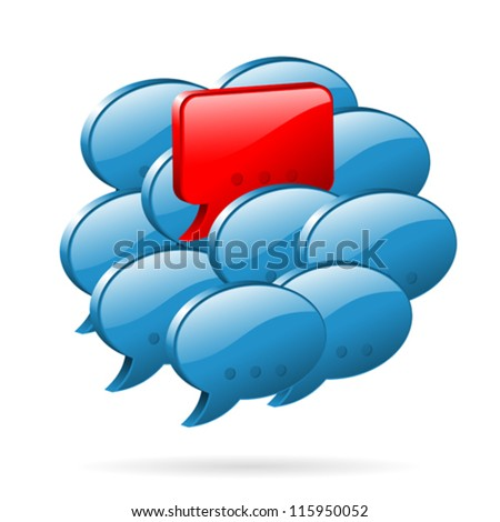 Social Media Concept - Speech Bubbles and One Original Individual Opinion, easy to change the color