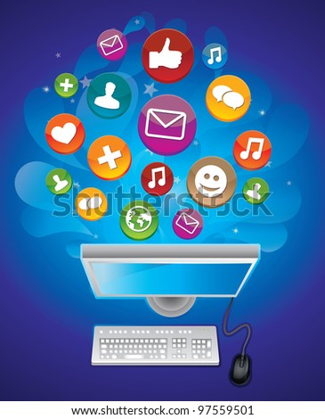 social media concept - vector computer and  keyboard - stock vector