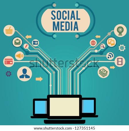 Social media concept - vector illustration