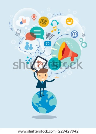 Social media concept vector illustration with business  man cartoon character standing on a globe with cloud of icons