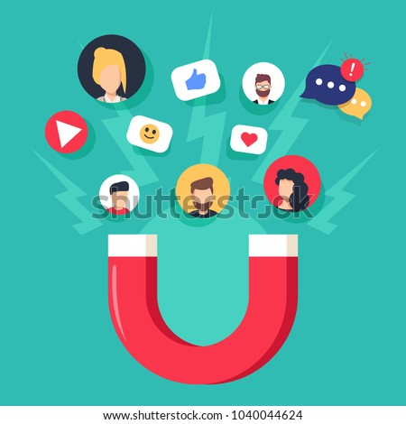 Social media concept vector illustration with magnet engaging followers and likes. Influence marketing or viral advertising campaign. Audience or customer retention strategy. Mobile feedback