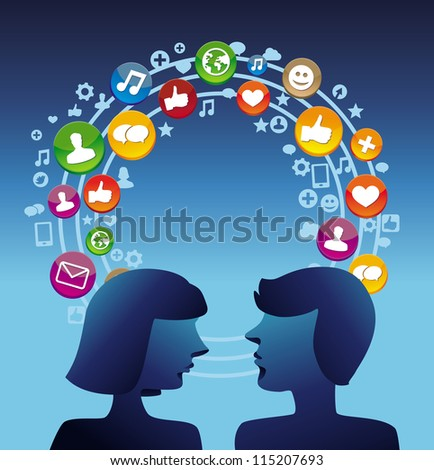 Social media concept with man and woman profiles - vector illustration