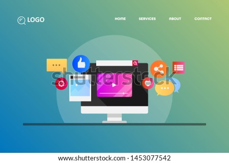 Social media content, Digital marketing, Social media icons  flat design vector illustration #1453077542