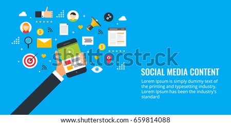 Social media content, social sharing, marketing flat design vector banner with icons isolated on blue background #659814088