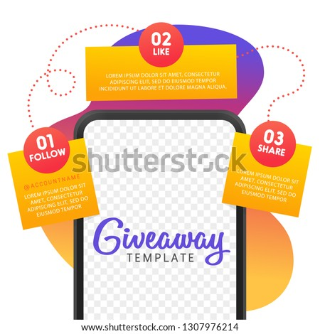 Social media contest. Giveaway banner for social media. Vector template.