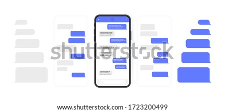 Social media design concept. Smart Phone with carousel style messenger chat screen. Sms template bubbles for compose dialogues. Modern vector illustration flat style.