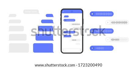 Social media design concept. Smart Phone with messenger chat screen and voice wave. Sms template bubbles for compose dialogues. Modern vector illustration flat style.