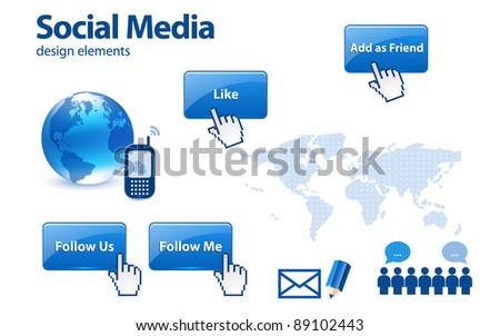 Social media design elements - stock vector