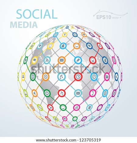 social media element icon globe worldwide / vector
