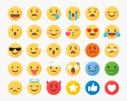 Social media emoticons vector set