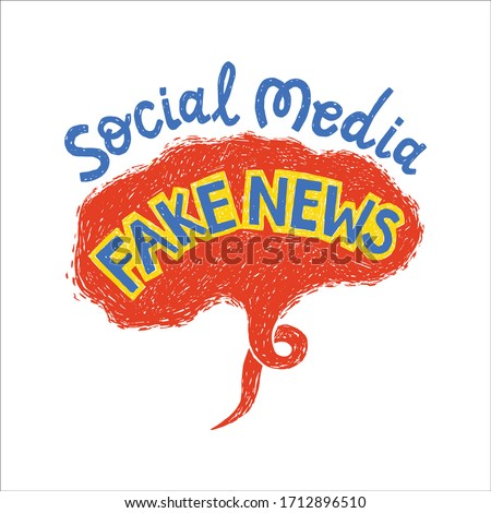 Social media fake news, hand drawn speech bubble with text. Stop spreading misleading information. Photo stock ©