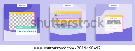 Social media faq, question, answer post banner layout template with geometric shape background and bubble message design element in purple yellow white color. Vector illustration