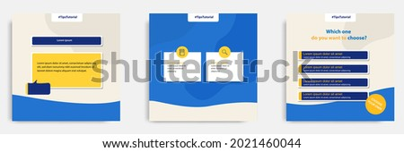 Social media faq, question, answer post banner layout template with geometric shape background and bubble message design element in blue yellow white color. Vector illustration